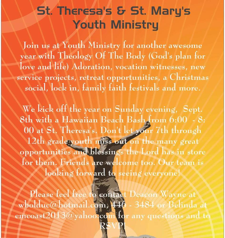 St. Theresas and St. Marys Youth Ministry Poster