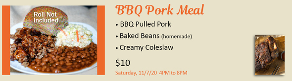 BBQ Pork Meal, All Souls Sanford Festival