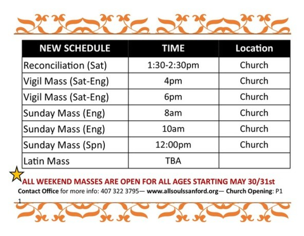 New Schedule of Masses at All Souls Catholic Church in Sanford Florida