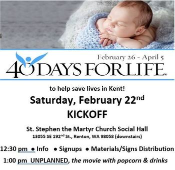 Kent 40 Days for Life Kickoff