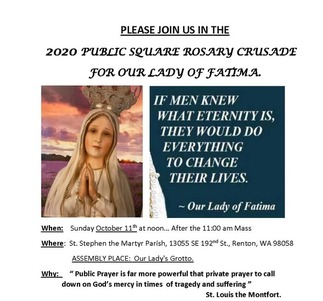 Outdoor Rosary Crusade Honoring Our Lady of Fatima