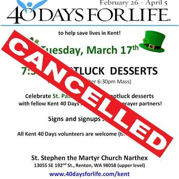 40 Days for Life POTLUCK DESSERTS