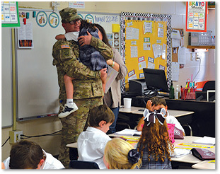Soldier surprises daughter at MBS