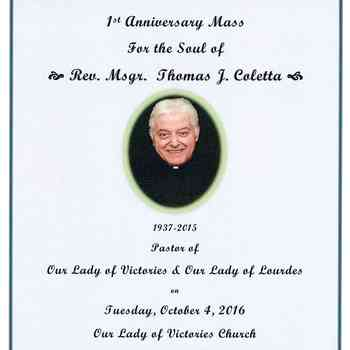 1st Anniversary Memorial Mass for Fr. Tom Coletta