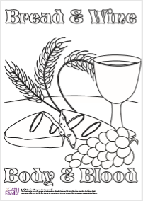 Black and white drawing of bread and wine glass