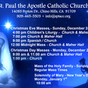 Mass Schedules for 4th Sunday of Advent and Christmas