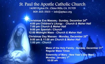 Mass Schedules for 4th Sunday of Advent and Christmas - St. Paul the ...