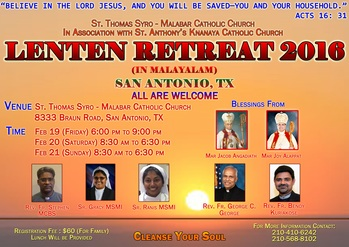Lenten Retreat 2016 February 19-21