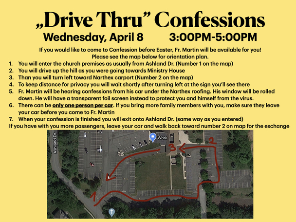 Drive Thru Confessions - Wednesday, April 8 - 3:00pm-5:00pm