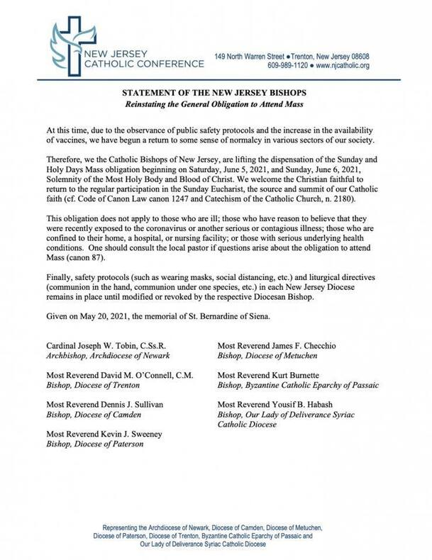 Letter from New Jersey Bishops