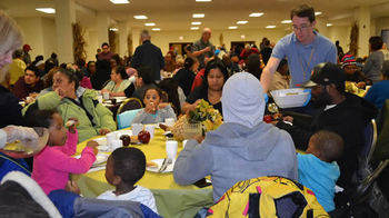 Help at Thanksgiving Party - Mission of Our Lady of the Angels