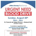 BLOOD DRIVE Sunday, Aug 30th at St.Francis 8AM -2PM