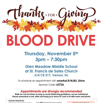 BLOOD DRIVE : Thursday Nov 5th St. Francis 3pm- 7pm Appointments recommended.