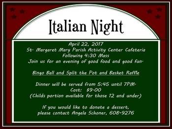 PYO Italian Night/Spaghetti Dinner