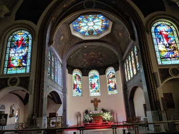 New photos added of St. Peters Church inside. Our Beautiful Stained glass.