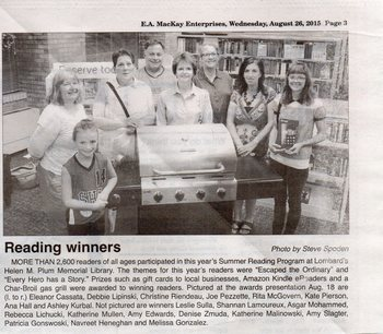 Helen Plum Library Summer Reading Program Winners