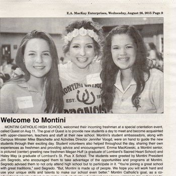 Montini High School Special Orientation