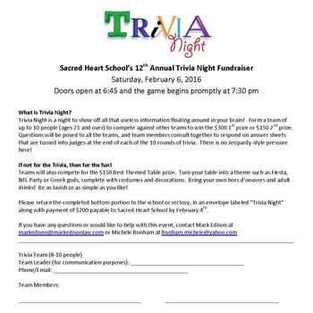 Trivia Night - 12th Annual Fundraiser