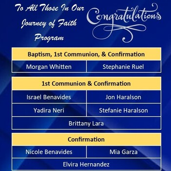 Congratulations to those in Journey of Faith Program!