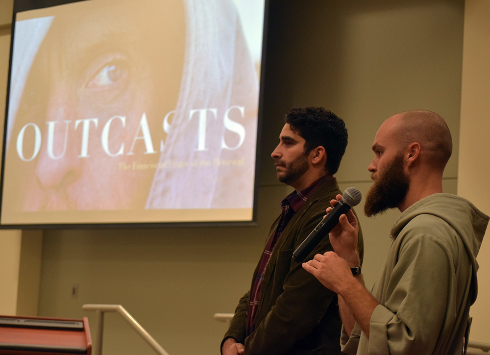 "Brother Elijah, a member of the Franciscan Friars of the Renewal, and Clifford Azize, producer and director, respond to questions after the screening of the new documentary ""Outcasts"" at St. Jude Parish on Nov. 5. (The Catholic Post/Tom Dermody)"