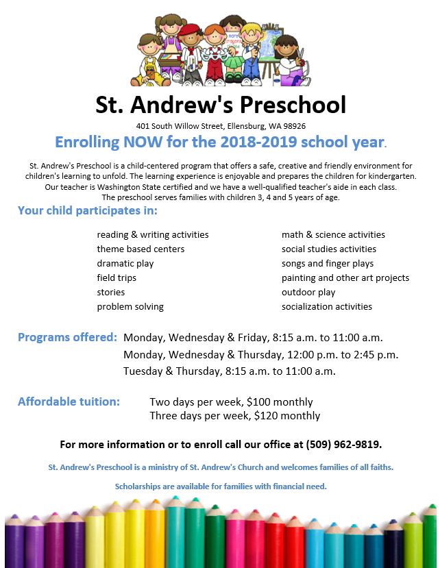 welcome to preschool st andrew s catholic church ellensburg wa
