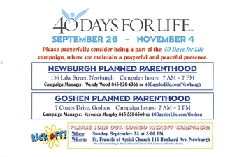 40 Days for Life Campaign Kickoff