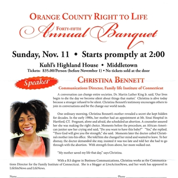 Orange County Right to Life Banquet