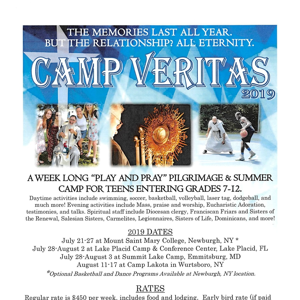 Camp Veritas at Mount St  Mary College - Saint Francis Xavier