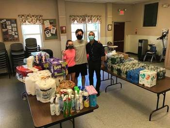 Students from St Joseph High School feeling great after delivering donation to Ozanam Family Shelter