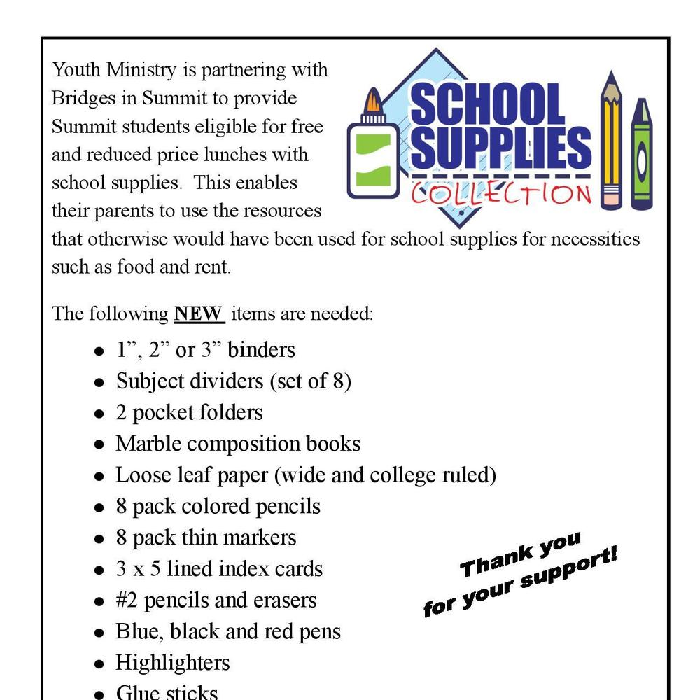 School Supplies Collection - St  Patrick, Chatham - Chatham, NJ