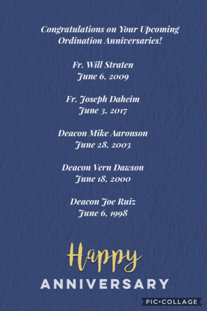 Congratulations on your upcoming Ordination Anniversaries!