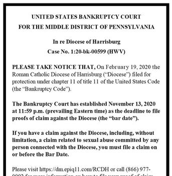 Diocese of Harrisburg Bankruptcy Notice