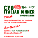 CYO TAKE AWAY ITALIAN DINNER