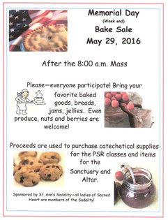 Memorial Week End Sodality Bake Sale
