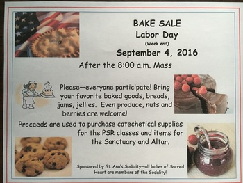 Labor Day Week End Bake Sale