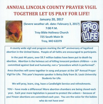 Annual Lincoln County Pro-Life Prayer Vigil