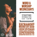 Word & Worship Wednesday Starts September 2nd