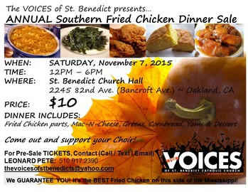 The VOICES of St. Benedict Annual Southern Fried Chicken Dinner Sale