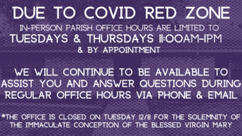 Parish Office Hours During Red Zone