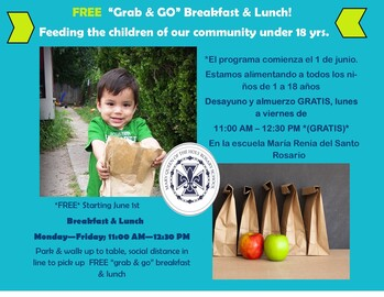 Free Meals for Children This Summer at Mary Queen Starting June 1st