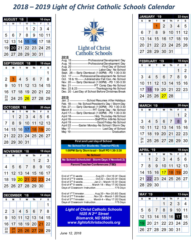 2018-2019 Light of Christ Catholic Schools Calendar