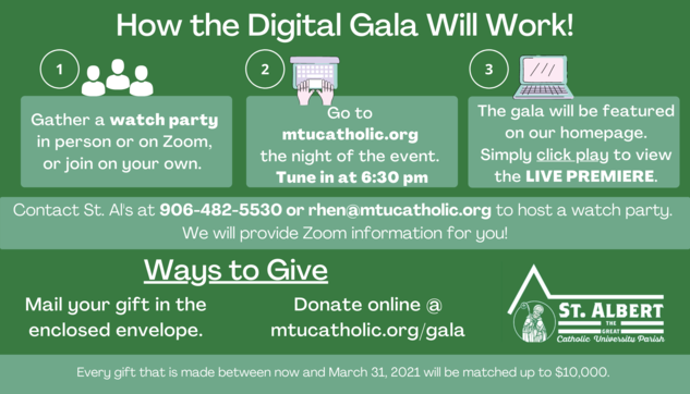 Directions on how to watch the gala and make a gift