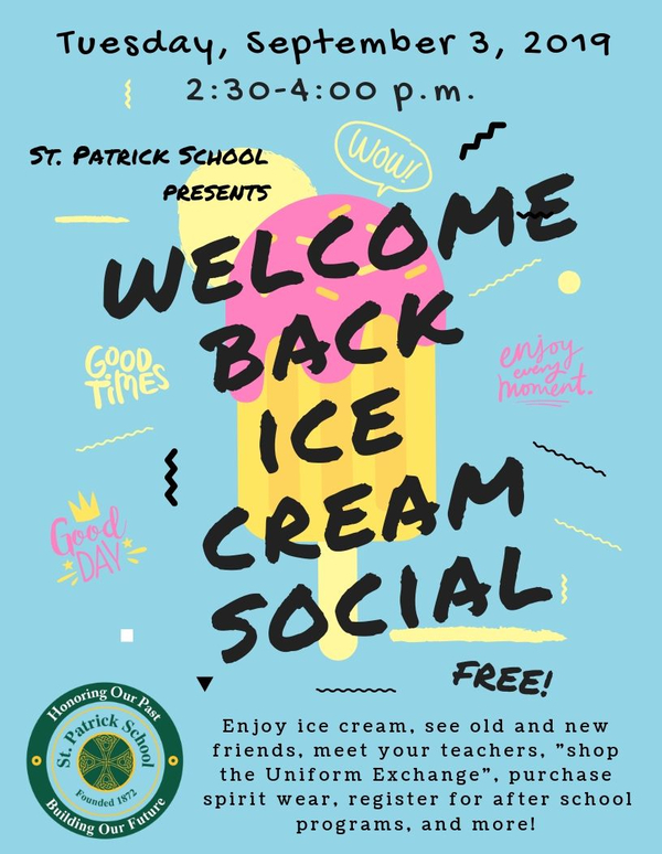 Welcome Back Ice Cream Social flyer