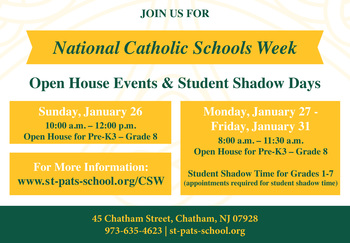 St. Patrick School and National Catholic Schools Week!