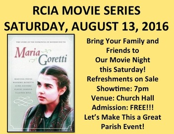 RCIA Summer Movie Series