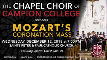 THE CAMPION COLLEGE CHAPEL CHOIR'S ANNUAL CHRISTMAS CONCER