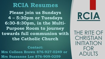 Rite of Christian Initiation for Adults - RCIA