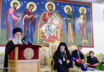 Archbishop Demetrios Visits Cyprus, Receives the Medal of St. Barnabas