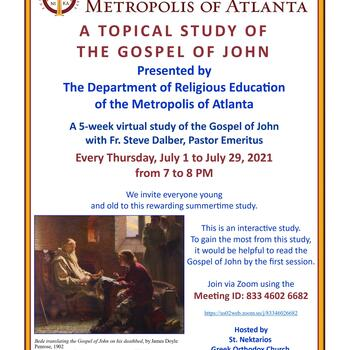 A Topical Study of the Gospel of John: July 1-29, over Zoom