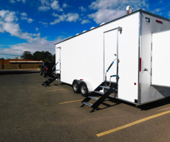 A mobile shower unit purchased through donations and grants will provide showers for asylum seekers